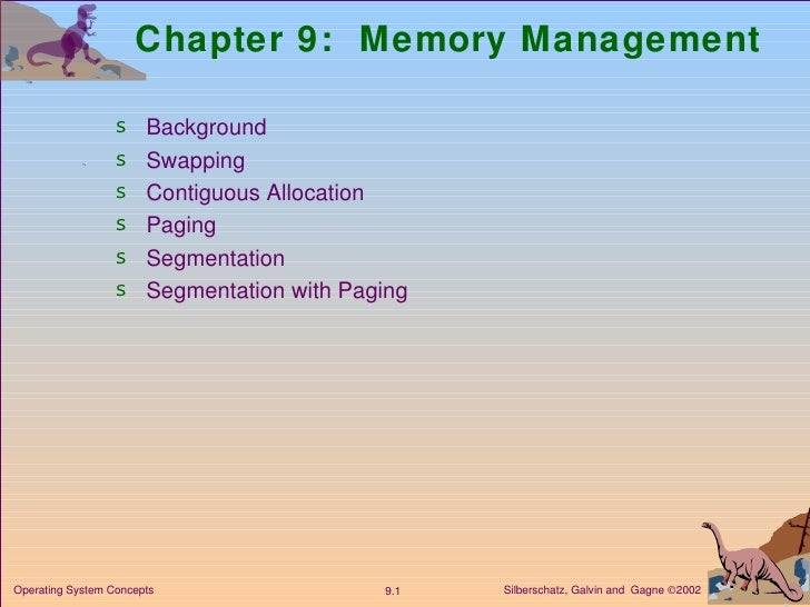 Chapter 9:  Memory Management <ul><li>Background </li></ul><ul><li>Swapping  </li></ul><ul><li>Contiguous Allocation </li>...