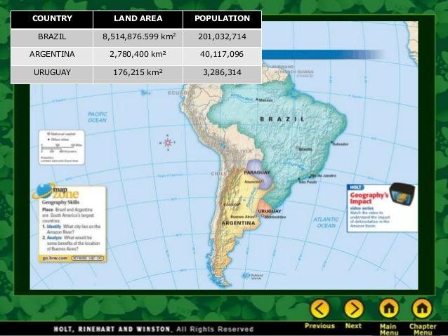 COUNTRY LAND AREA POPULATION BRAZIL 8,514,876.599 km2 201,032,714 ARGENTINA 2,780,400 km² 40,117,096 URUGUAY 176,215 km² 3...
