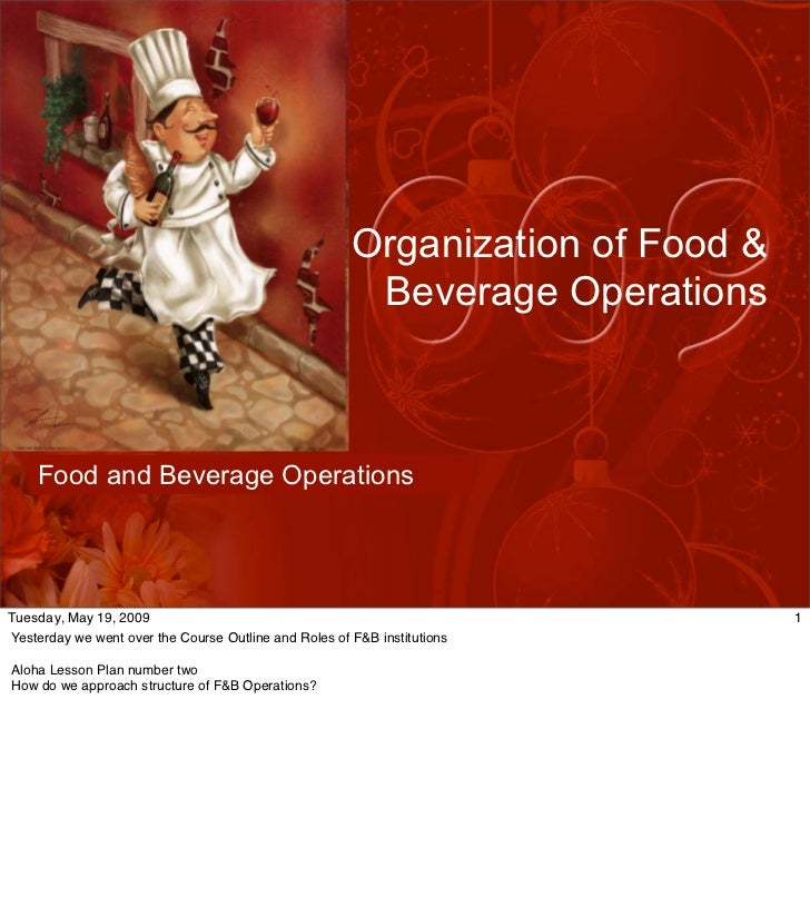Organization of Food &                                                         Beverage Operations        Food and Beverag...