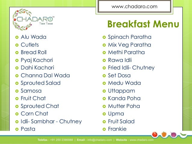 north indian breakfast menu