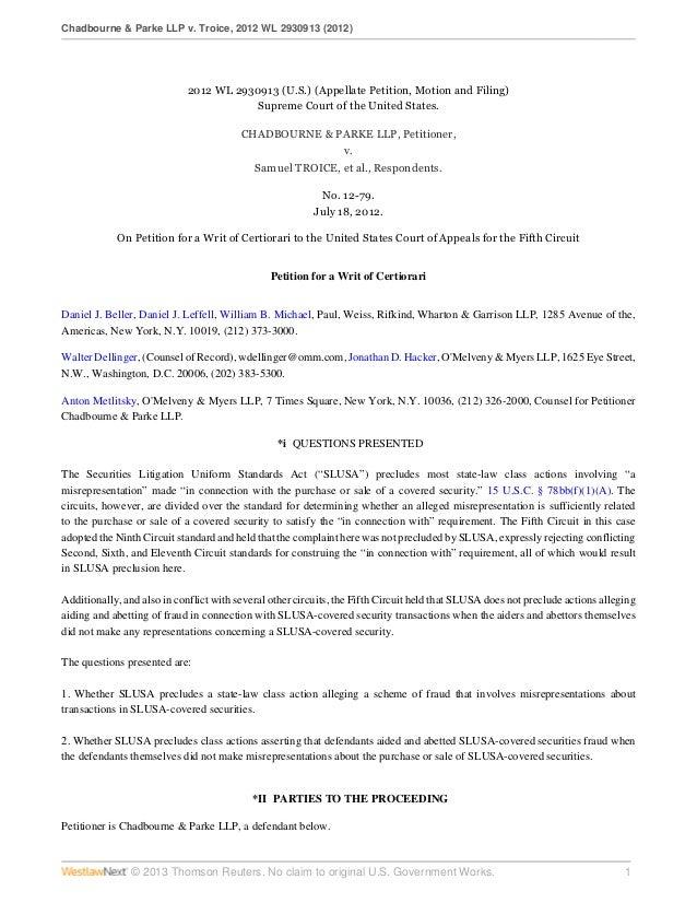 Chadbourne petition for writ of certiorari