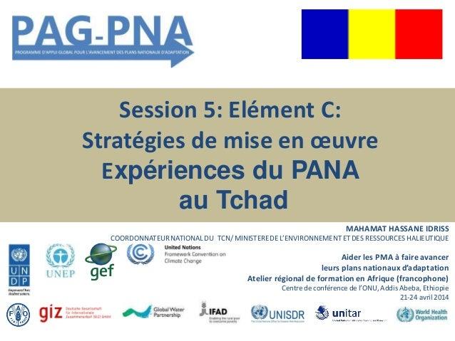 Session 5: Elément C: Stratégies de mise en œuvre Expériences du PANA au Tchad MAHAMAT HASSANE IDRISS COORDONNATEUR NATION...
