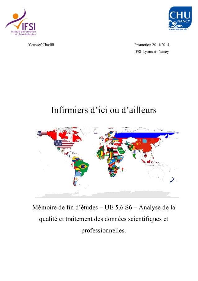 Youssef Chadili Promotion 2011/2014 IFSI Lyonnois Nancy Infirmiers d'ici ou d'ailleurs Mémoire de fin d'études – UE 5.6 S6...