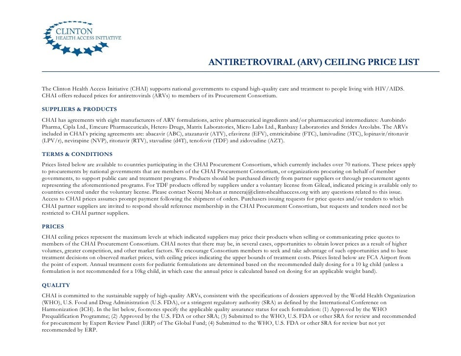 ANTIRETROVIRAL (ARV) CEILING PRICE LISTThe Clinton Health Access Initiative (CHAI) supports national governments to expand...
