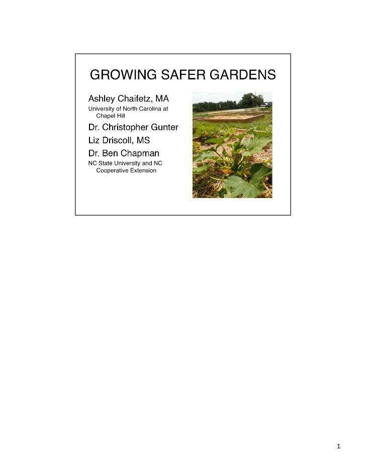 D3: Food Safety and the Garden to Cafeteria Connection