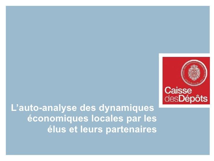 L'auto-analyse des dynamiques économiques locales par les élus et leurs partenaires