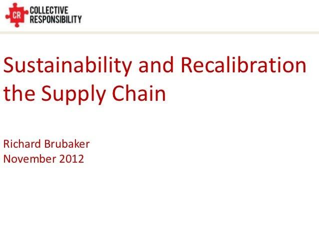 Sustainability and Recalibrationthe Supply ChainRichard BrubakerNovember 2012