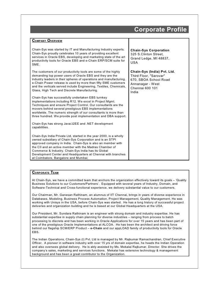 Chain Sys Corporate Profile