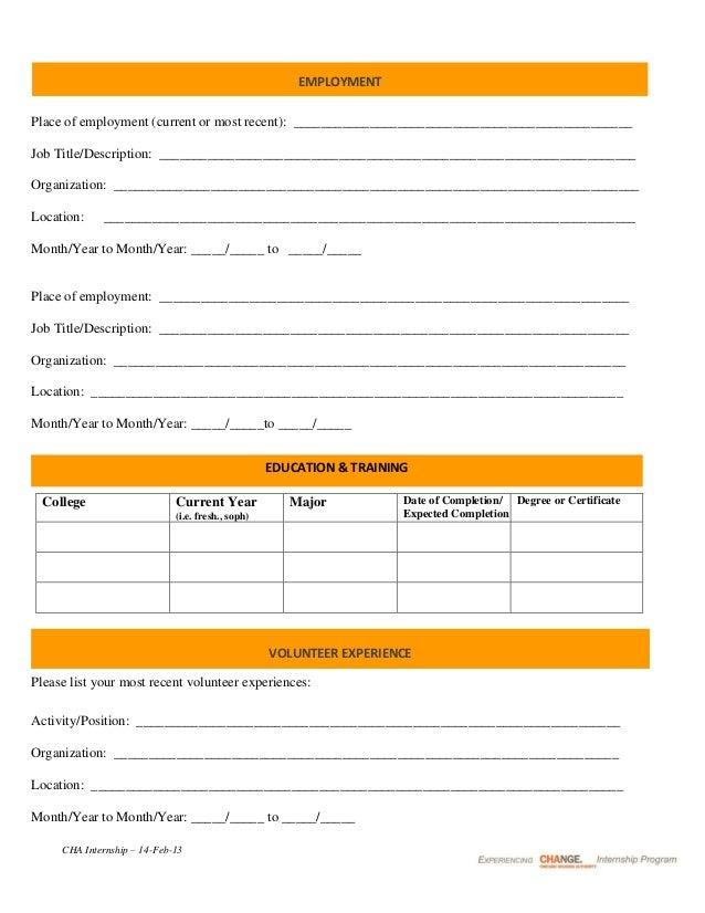 application sample for internship