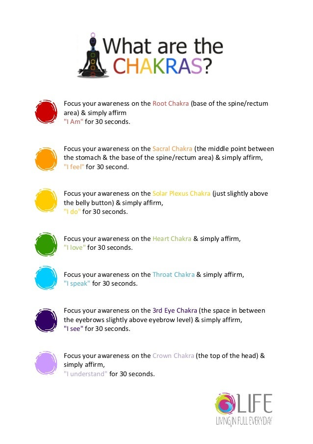 Chakras Focus your awareness on the Root Chakra (base of the spine...