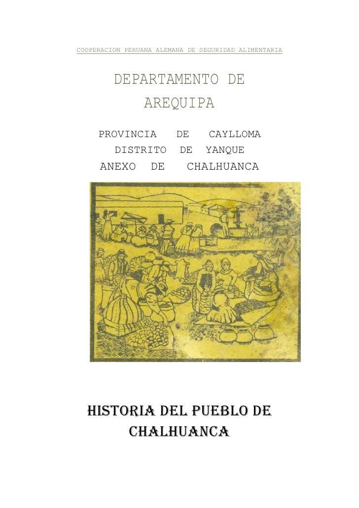 Historia del Pueblo de Chalhuanca