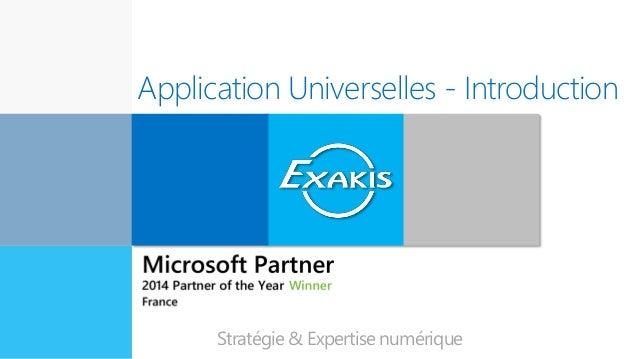 Application Universelles - Introduction Expert en innovation Stratégie & Expertise numérique