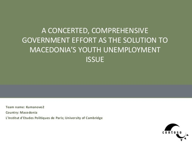 [Challenge:Future] A CONCERTED, COMPREHENSIVE GOVERNMENT EFFORT AS THE SOLUTION TO MACEDONIAS YOUTH UNEMPLOYMENT ISSUE