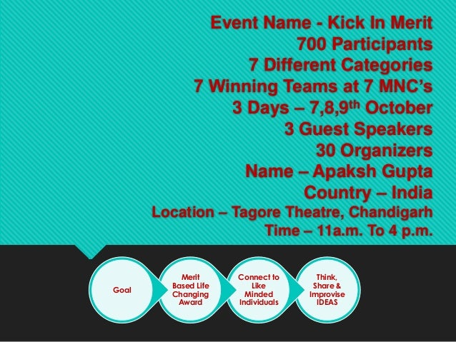 Event Name - Kick In Merit700 Participants7 Different Categories7 Winning Teams at 7 MNC's3 Days – 7,8,9th October3 Guest ...