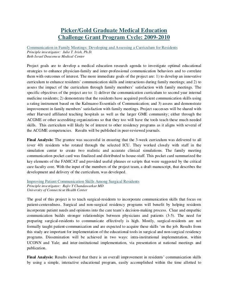 Challenge grant program 2009 2010 descriptions final analysis