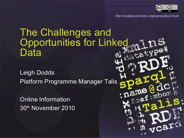 The Challenges and Opportunities for Linked Data Leigh Dodds Platform Programme Manager Talis Online Information 30th Nove...