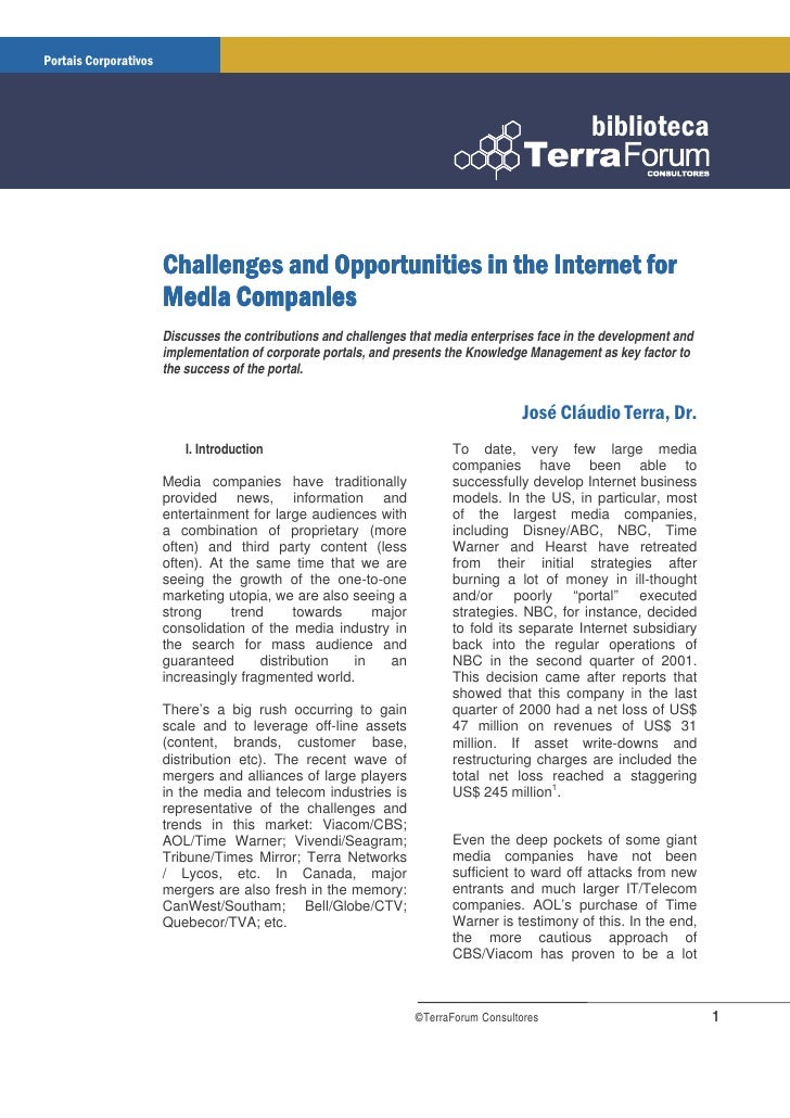 Discusses the contributions and challenges that media enterprises face in the development and implementation of corporate ...