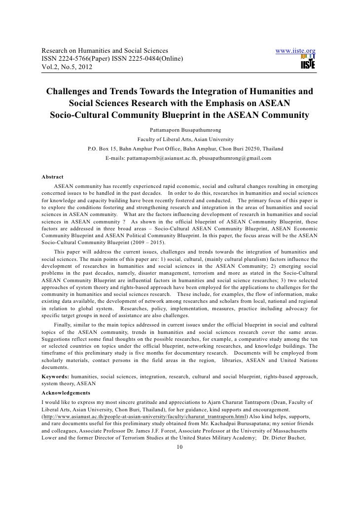 Challenges and trends towards the integration of humanities and social sciences research with the emphasis on asean