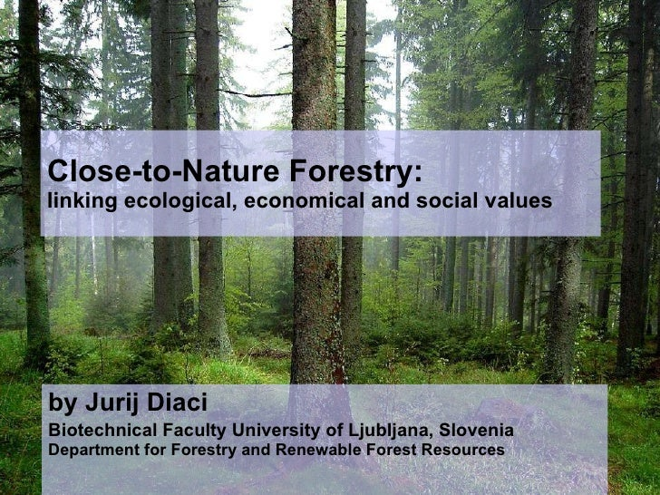 Close-to-Nature Forestry:  linking ecological, economical and social values by Jurij Diaci Biotechnical Faculty University...