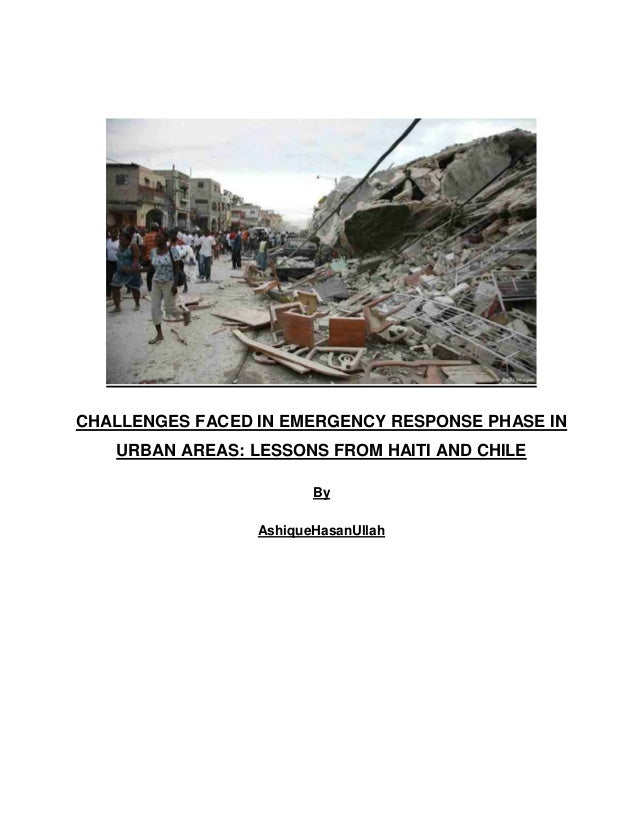 Challenges faced in  emergency response phase in urban areas