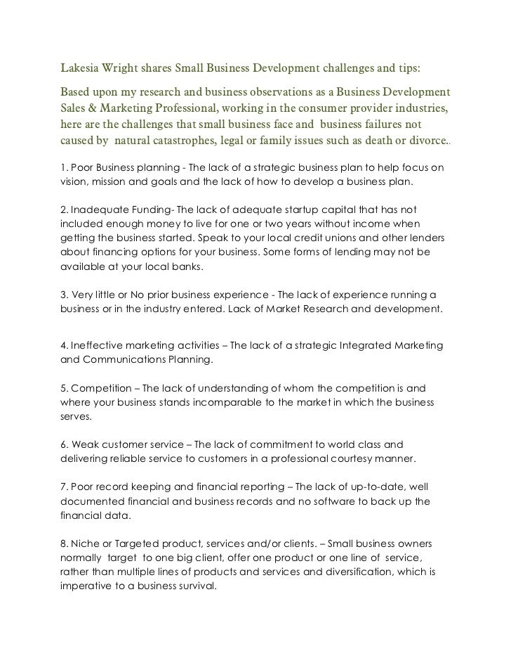 Lakesia Wright shares Small Business Development challenges and tips:Based upon my research and business observations as a...