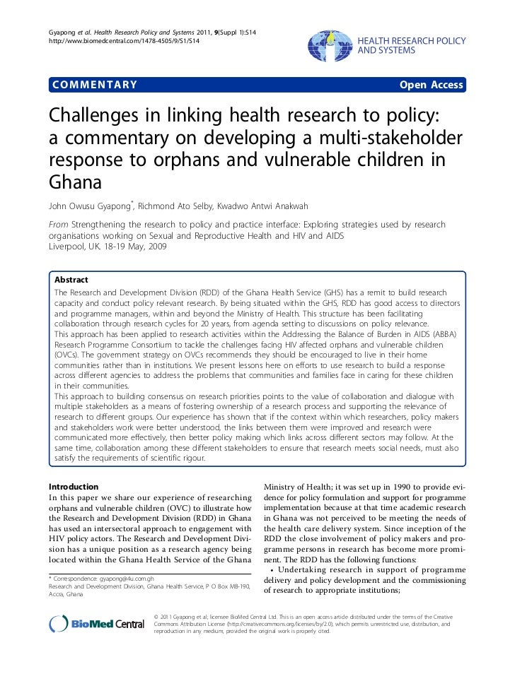 Gyapong et al. Health Research Policy and Systems 2011, 9(Suppl 1):S14http://www.biomedcentral.com/1478-4505/9/S1/S14 COMM...