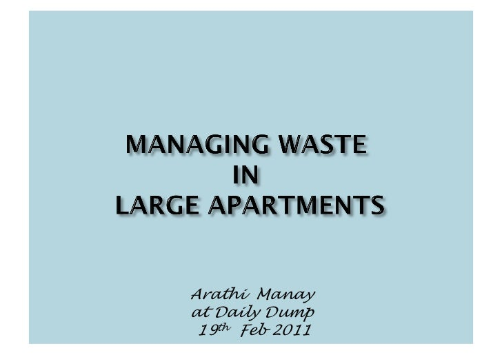 Challenges in waste mgmt in apts