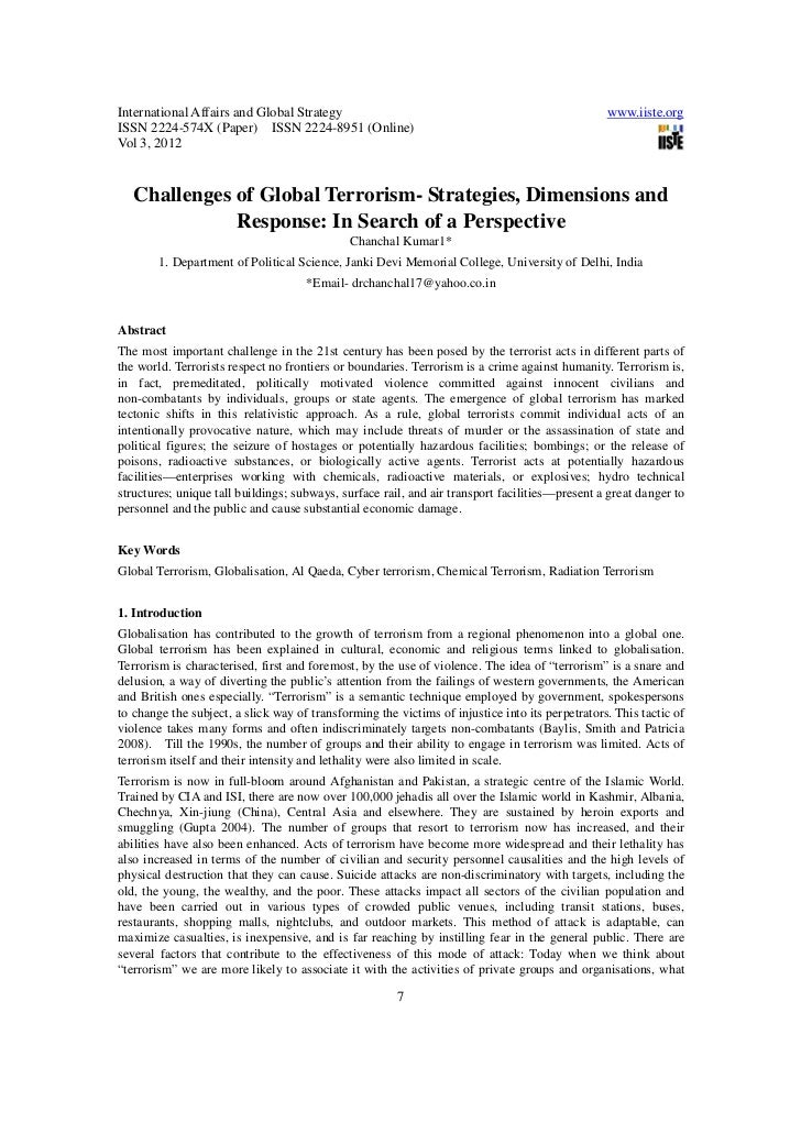 Challenges of global terrorism  strategies, dimensions and response in search of a perspective