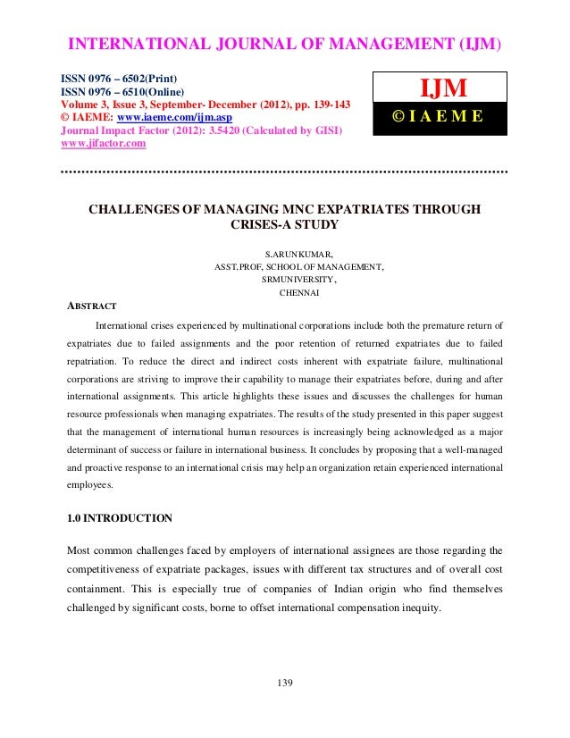 Challenges of managing mnc expatriates through crises a study