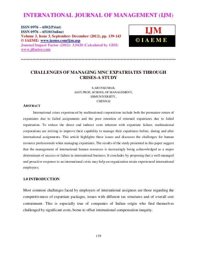 Challenges of managing mnc expatriates through crises a study