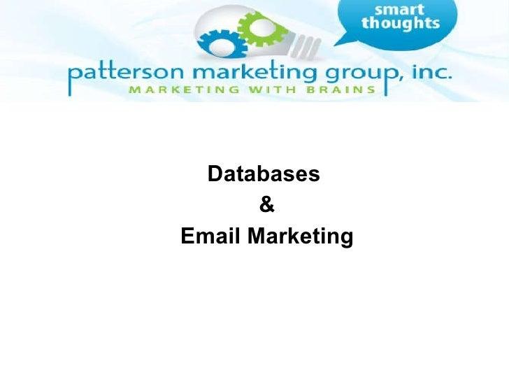 Databases  & Email Marketing