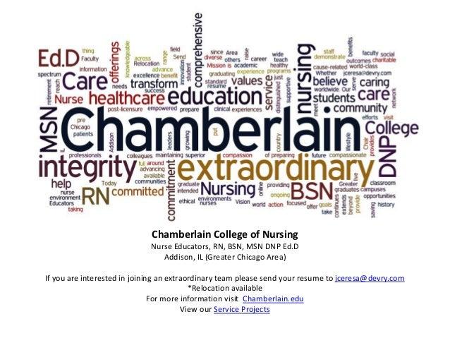 Chamberlain College of Nursing send resume to jceresa@devry.com