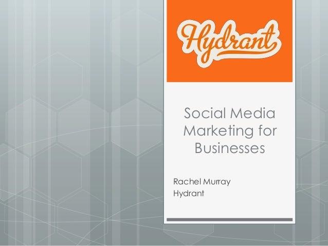 Social Media  Marketing for   BusinessesRachel MurrayHydrant