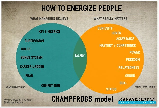How to Energize People: CHAMPFROGS model