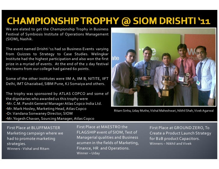 We are elated to get the Championship Trophy in BusinessFestival of Symbiosis Institute of Operations Management(SIOM), Na...
