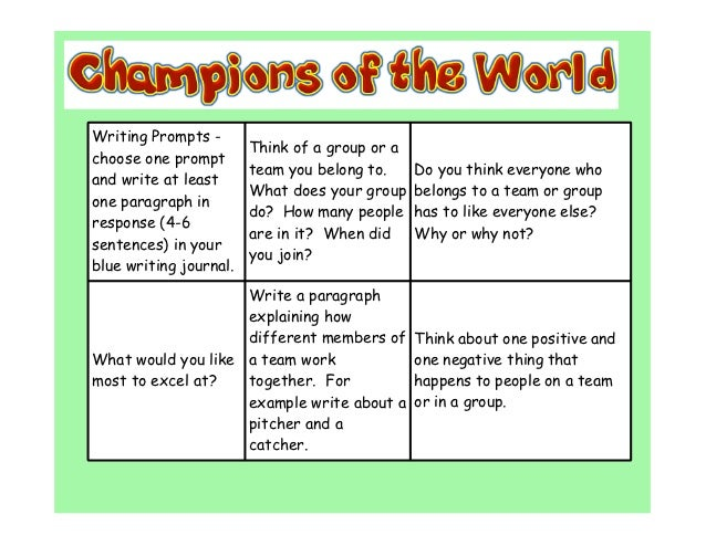Writing Prompts -                        Think of a group or achoose one prompt                        team you belong to....