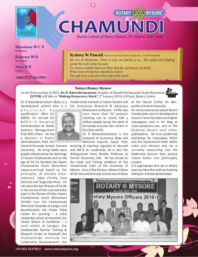 Chamundi #27 dated 2nd Jan 2014
