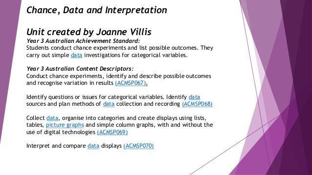 Chance, Data and Interpretation Unit created by Joanne Villis Year 3 Australian Achievement Standard: Students conduct cha...