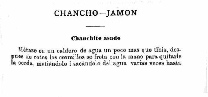 CHANCHO-JAMON                        Chanchito asado     MiICtase en un caldero de agua un poco mas que tibia, des- pues d...