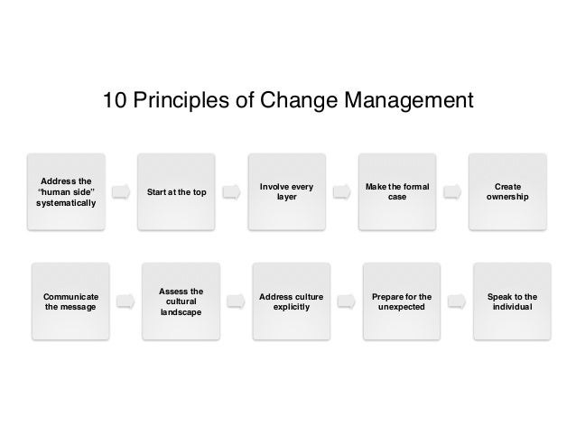 10 prinicples to change management The change-management 1 10 principles of change management tools and techniques to help companies transform quickly by john jones, deanne aguirre, and matthew calderone.