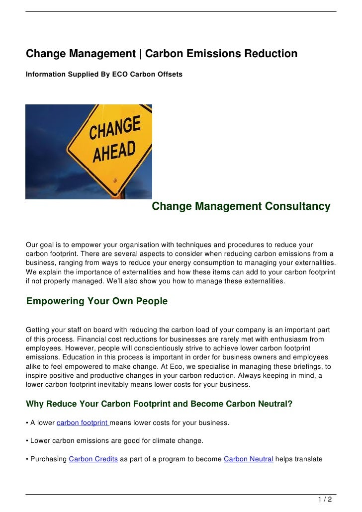 Change Management | Carbon Emissions ReductionInformation Supplied By ECO Carbon Offsets                                  ...
