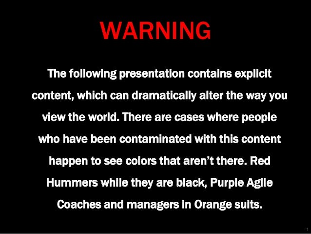 WARNING The following presentation contains explicit content, which can dramatically alter the way you  view the world. Th...