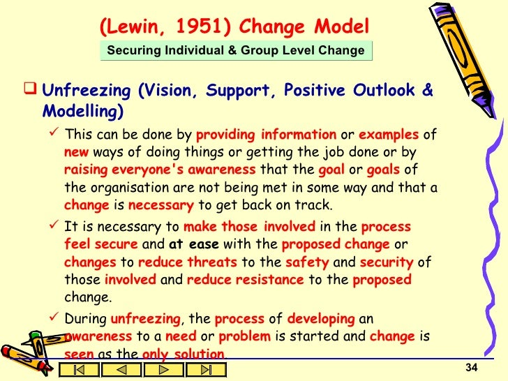 lewin s theory of change in nursing This assignment will look at how the change theory of lewin can be applied to a clinical situation that has ethical, advocacy and legal ramifications law and ethics in nursing.