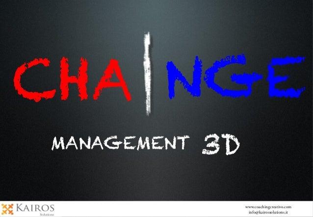 CHA NGEMANAGEMENT 3Dwww.coachingcreativo.cominfo@kairossolutions.it