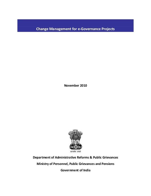 ChangeManagementfore‐GovernanceProjects          November2010           DepartmentofAdministrat...