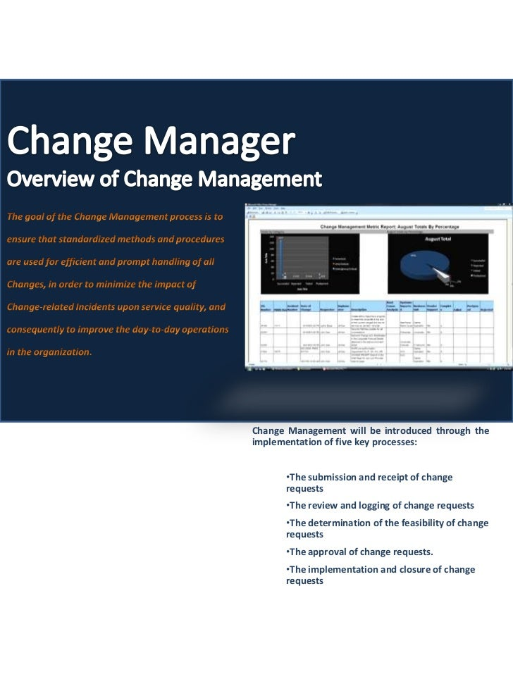 Change Management will be introduced through theimplementation of five key processes:      •The submission and receipt of ...