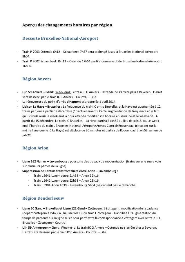 Aperçu des changements horaires par région Desserte Bruxelles-National-Aéroport -  Train P 7003 Ostende 6h12 – Schaerbeek ...