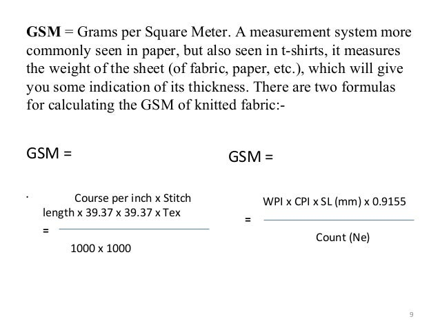 Knitting Loop Length Calculation : Change of fabric gsm vary with yarn count