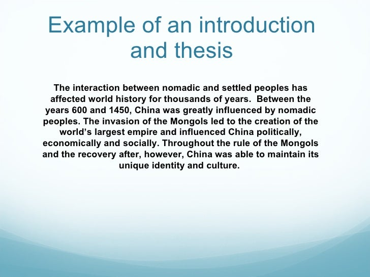 Writing Introduction For Thesis