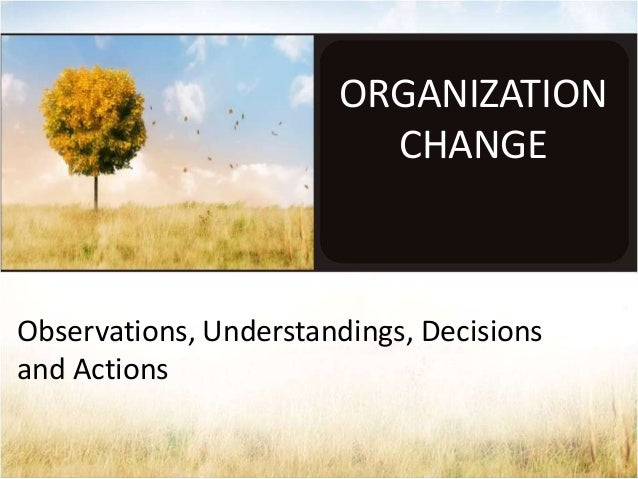ORGANIZATION CHANGE  Observations, Understandings, Decisions and Actions